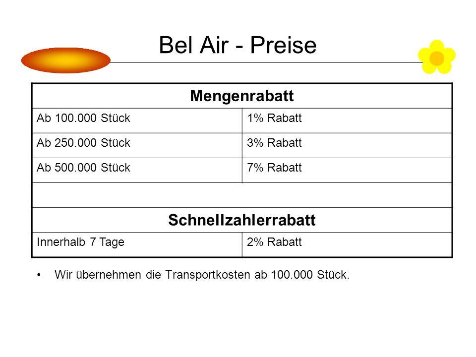 Bel Air - Preise Wir übernehmen die Transportkosten ab 100.000 Stück.