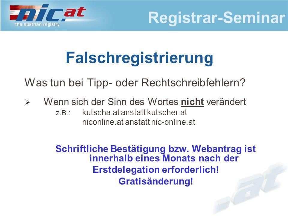 Registrar-Seminar Falschregistrierung Was tun bei Tipp- oder Rechtschreibfehlern.