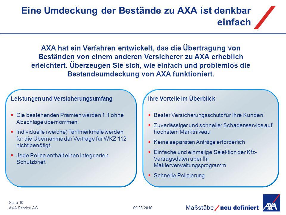09.03.2010AXA Service AG Seite 10 Eine Umdeckung der Bestände zu AXA ist denkbar einfach AXA hat ein Verfahren entwickelt, das die Übertragung von Bes