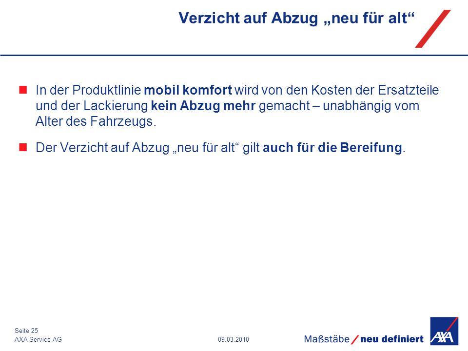 """09.03.2010AXA Service AG Seite 25 Verzicht auf Abzug """"neu für alt"""" In der Produktlinie mobil komfort wird von den Kosten der Ersatzteile und der Lacki"""