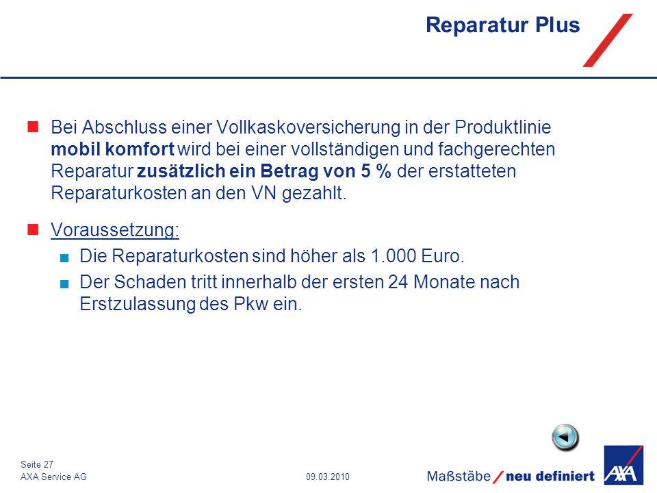 09.03.2010AXA Service AG Seite 27 Reparatur Plus Bei Abschluss einer Vollkaskoversicherung in der Produktlinie mobil komfort wird bei einer vollständi