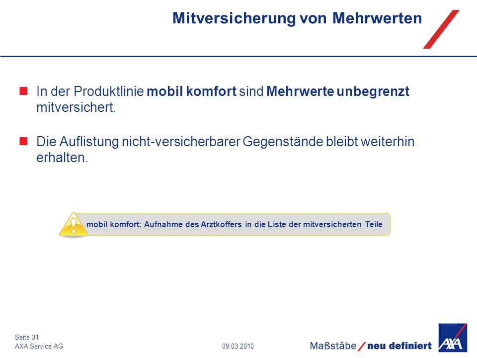 09.03.2010AXA Service AG Seite 31 Mitversicherung von Mehrwerten In der Produktlinie mobil komfort sind Mehrwerte unbegrenzt mitversichert. Die Auflis