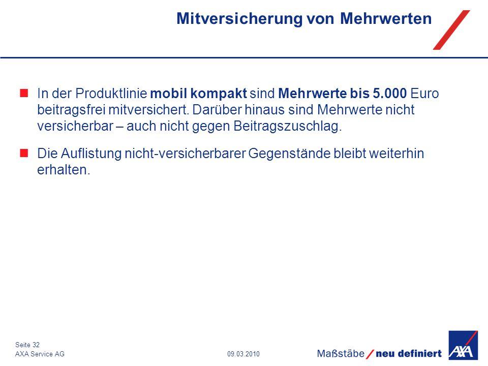 09.03.2010AXA Service AG Seite 32 Mitversicherung von Mehrwerten In der Produktlinie mobil kompakt sind Mehrwerte bis 5.000 Euro beitragsfrei mitversi
