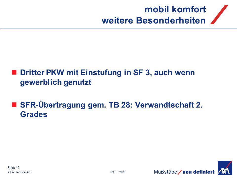 09.03.2010AXA Service AG Seite 45 mobil komfort weitere Besonderheiten Dritter PKW mit Einstufung in SF 3, auch wenn gewerblich genutzt SFR-Übertragun