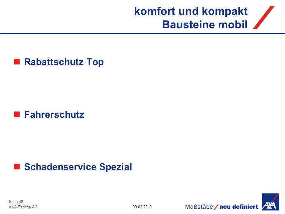 09.03.2010AXA Service AG Seite 48 komfort und kompakt Bausteine mobil Rabattschutz Top Fahrerschutz Schadenservice Spezial