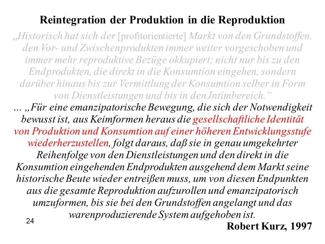"""Reintegration der Produktion in die Reproduktion """"Historisch hat sich der [profitorientierte] Markt von den Grundstoffen, den Vor- und Zwischenprodukten immer weiter vorgeschoben und immer mehr reproduktive Bezüge okkupiert; nicht nur bis zu den Endprodukten, die direkt in die Konsumtion eingehen, sondern darüber hinaus bis zur Vermittlung der Konsumtion selber in Form von Dienstleistungen und bis in den Intimbereich. … """"Für eine emanzipatorische Bewegung, die sich der Notwendigkeit bewusst ist, aus Keimformen heraus die gesellschaftliche Identität von Produktion und Konsumtion auf einer höheren Entwicklungsstufe wiederherzustellen, folgt daraus, daß sie in genau umgekehrter Reihenfolge von den Dienstleistungen und den direkt in die Konsumtion eingehenden Endprodukten ausgehend dem Markt seine historische Beute wieder entreißen muss, um von diesen Endpunkten aus die gesamte Reproduktion aufzurollen und emanzipatorisch umzuformen, bis sie bei den Grundstoffen angelangt und das warenproduzierende System aufgehoben ist."""