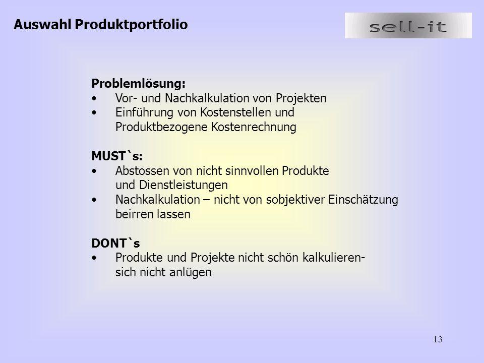 13 Problemlösung: Vor- und Nachkalkulation von Projekten Einführung von Kostenstellen und Produktbezogene Kostenrechnung MUST`s: Abstossen von nicht sinnvollen Produkte und Dienstleistungen Nachkalkulation – nicht von sobjektiver Einschätzung beirren lassen DONT`s Produkte und Projekte nicht schön kalkulieren- sich nicht anlügen Auswahl Produktportfolio