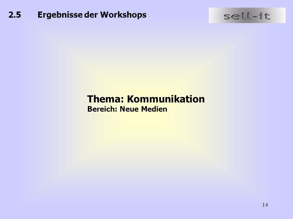 14 2.5Ergebnisse der Workshops Thema: Kommunikation Bereich: Neue Medien