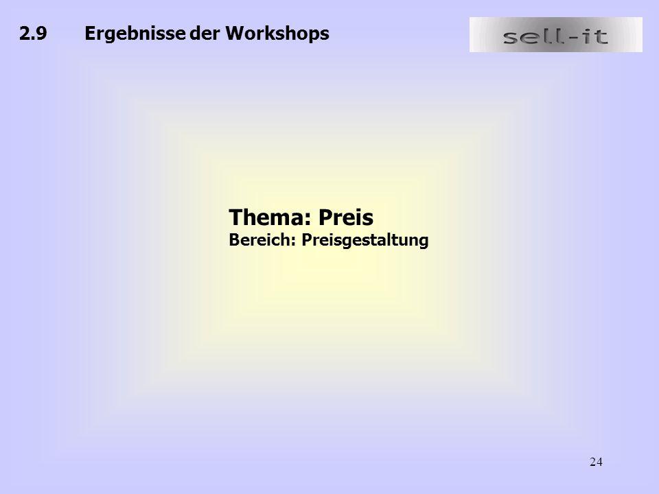 24 2.9Ergebnisse der Workshops Thema: Preis Bereich: Preisgestaltung