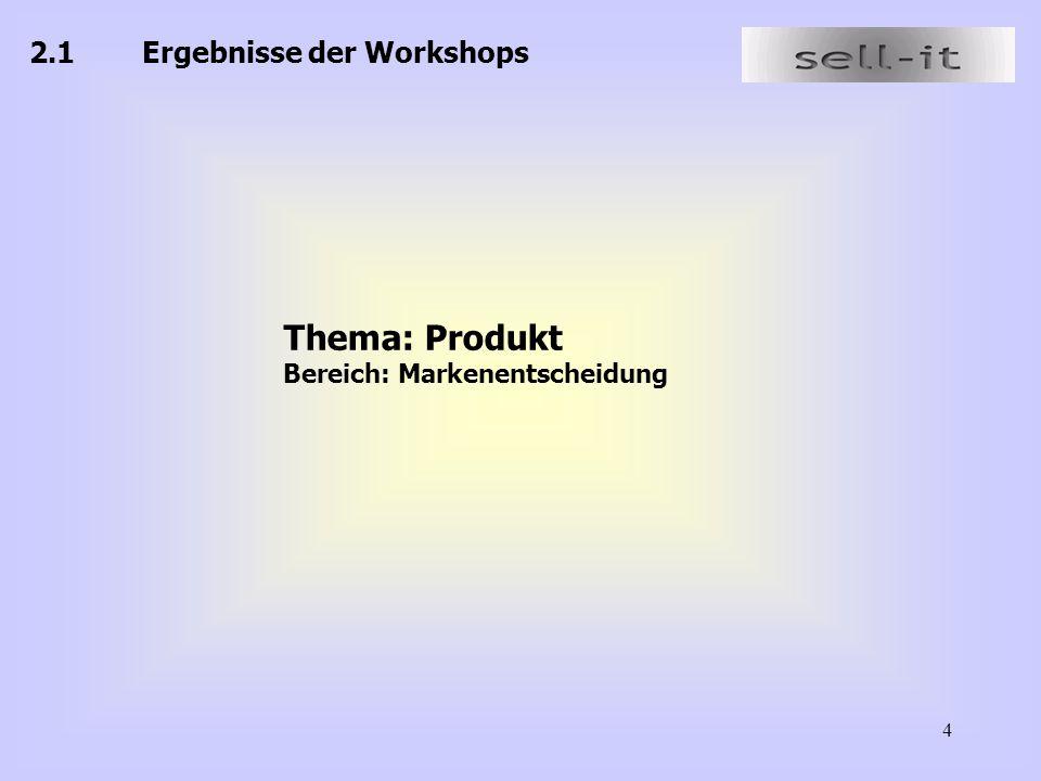 4 2.1 Ergebnisse der Workshops Thema: Produkt Bereich: Markenentscheidung