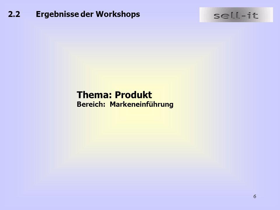 6 2.2Ergebnisse der Workshops Thema: Produkt Bereich: Markeneinführung
