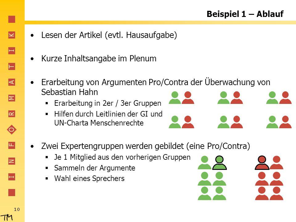 I N F O R M A T I K Beispiel 1 – Ablauf Lesen der Artikel (evtl. Hausaufgabe) Kurze Inhaltsangabe im Plenum Erarbeitung von Argumenten Pro/Contra der