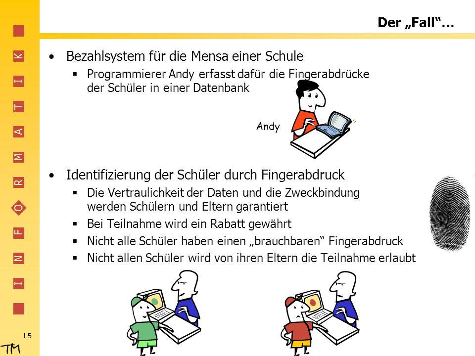 """I N F O R M A T I K 15 Der """"Fall""""… Bezahlsystem für die Mensa einer Schule  Programmierer Andy erfasst dafür die Fingerabdrücke der Schüler in einer"""