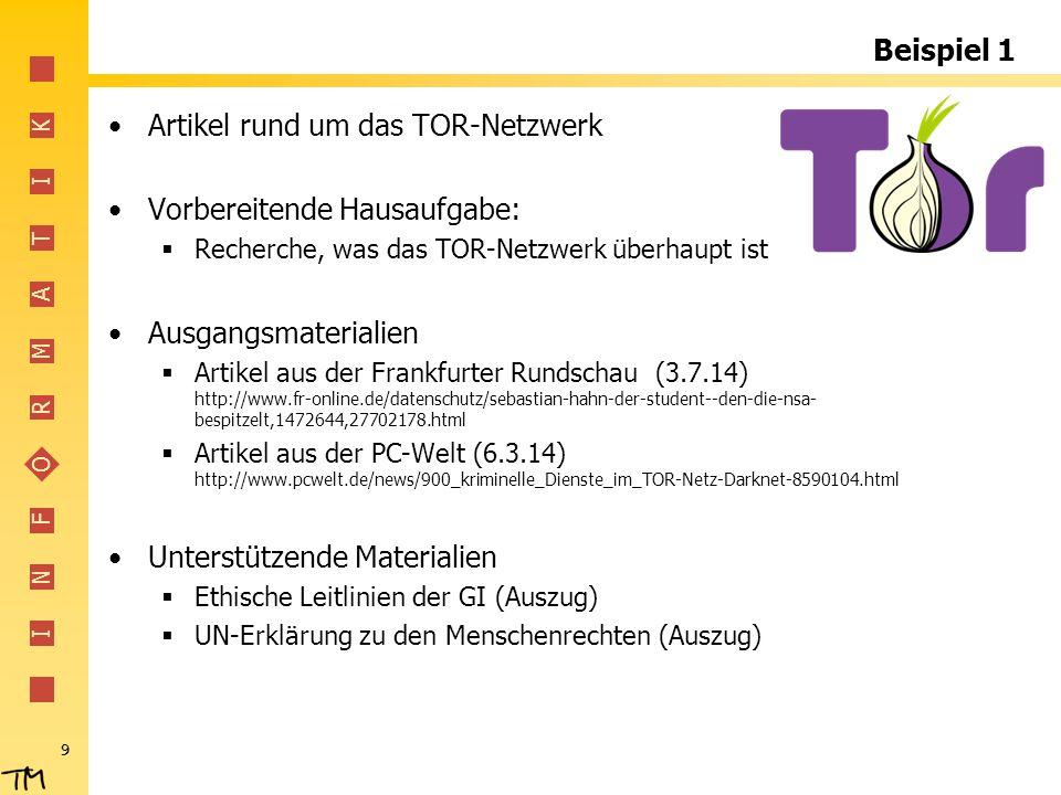 I N F O R M A T I K Beispiel 1 Artikel rund um das TOR-Netzwerk Vorbereitende Hausaufgabe:  Recherche, was das TOR-Netzwerk überhaupt ist Ausgangsmat