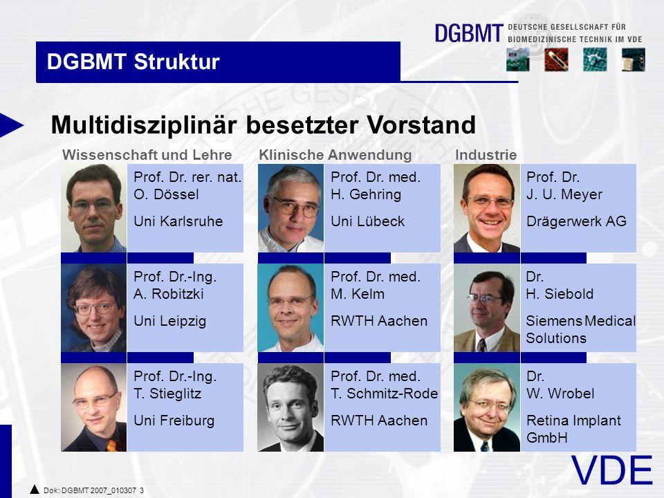 VDE Dok: DGBMT 2007_010307 3 IndustrieKlinische Anwendung DGBMT Struktur Multidisziplinär besetzter Vorstand Wissenschaft und Lehre Prof.