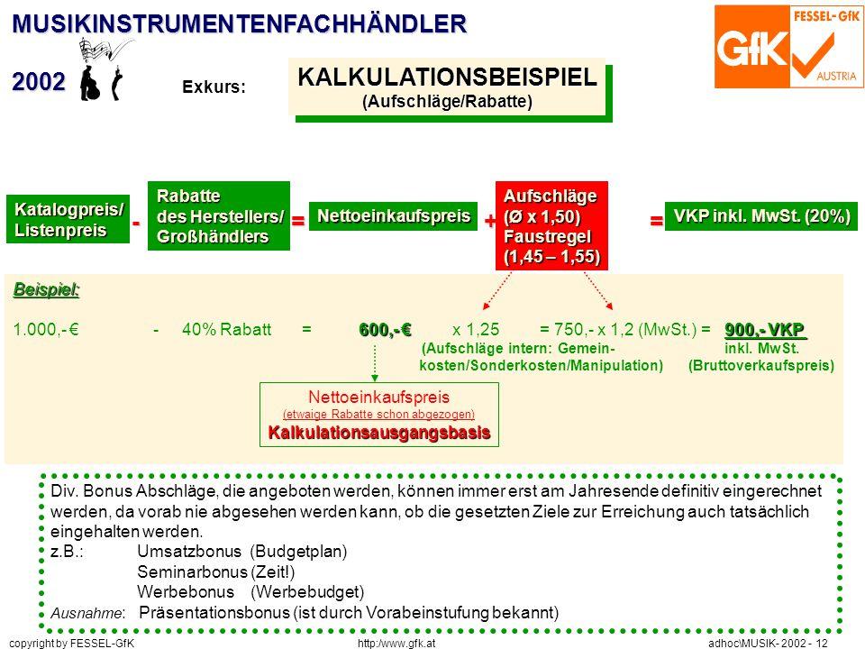 http:/www.gfk.at copyright by FESSEL-GfK adhoc\MUSIK- 2002 - 12 MUSIKINSTRUMENTENFACHHÄNDLER2002 KALKULATIONSBEISPIEL(Aufschläge/Rabatte)KALKULATIONSB