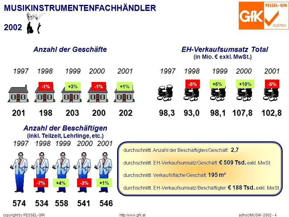 http:/www.gfk.at copyright by FESSEL-GfK adhoc\MUSIK- 2002 - 4 MUSIKINSTRUMENTENFACHHÄNDLER2002 Anzahl der Geschäfte EH-Verkaufsumsatz Total (in Mio.