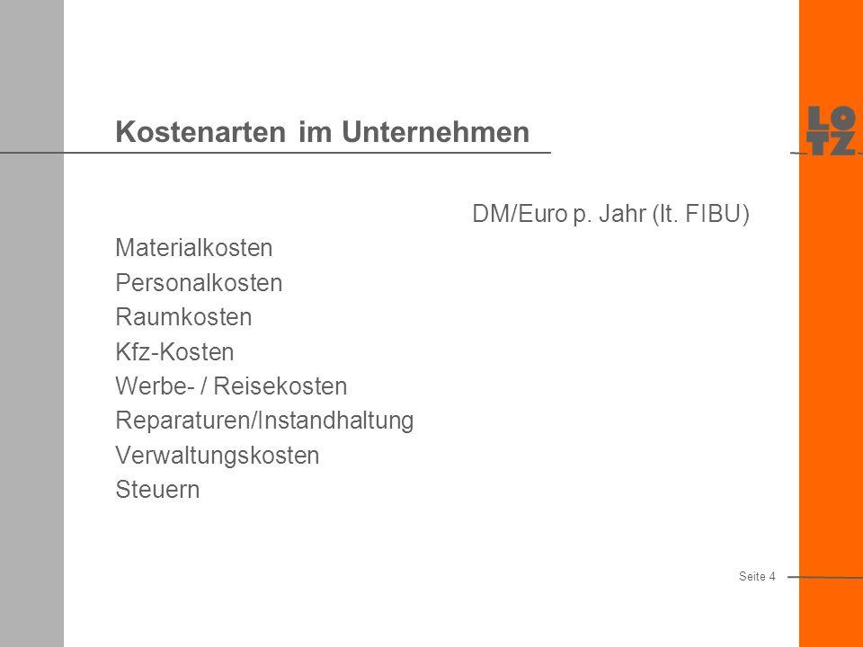 Kostenarten im Unternehmen DM/Euro p.Jahr (lt.