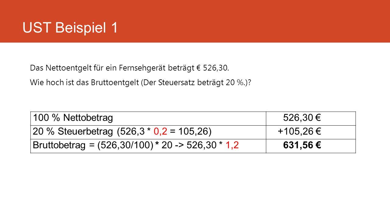 Das Nettoentgelt für ein Fernsehgerät beträgt € 526,30. Wie hoch ist das Bruttoentgelt (Der Steuersatz beträgt 20 %.)? UST Beispiel 1 100 % Nettobetra