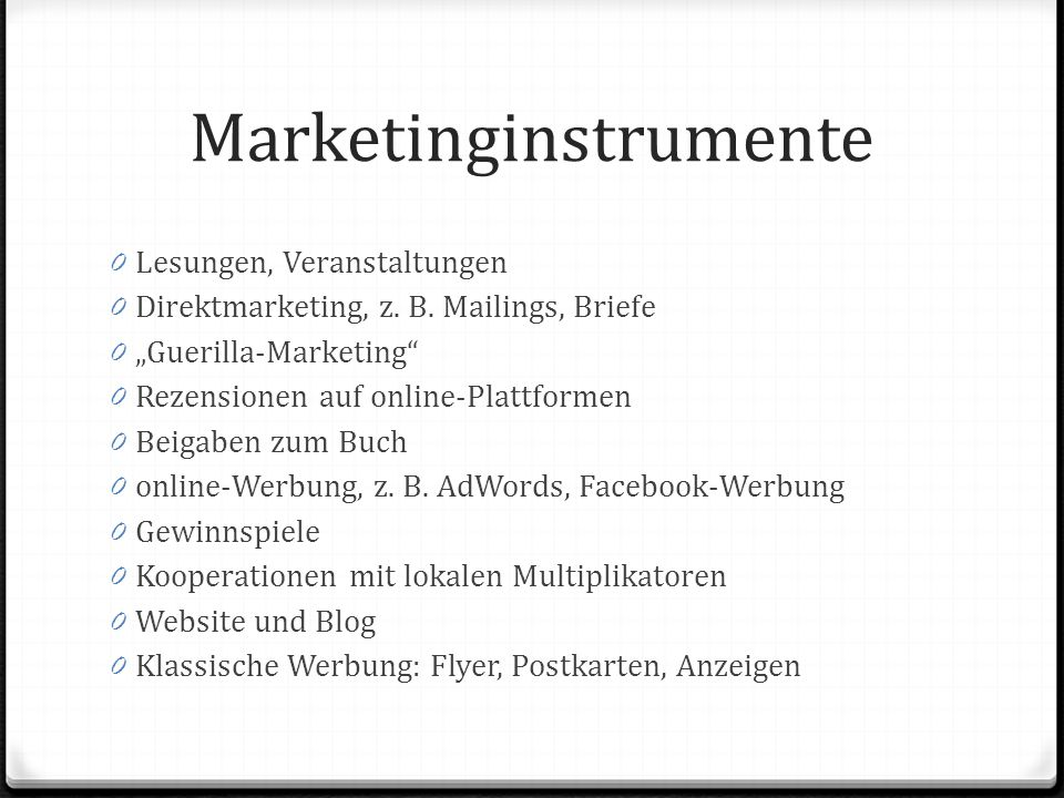 Marketinginstrumente 0 Lesungen, Veranstaltungen 0 Direktmarketing, z.