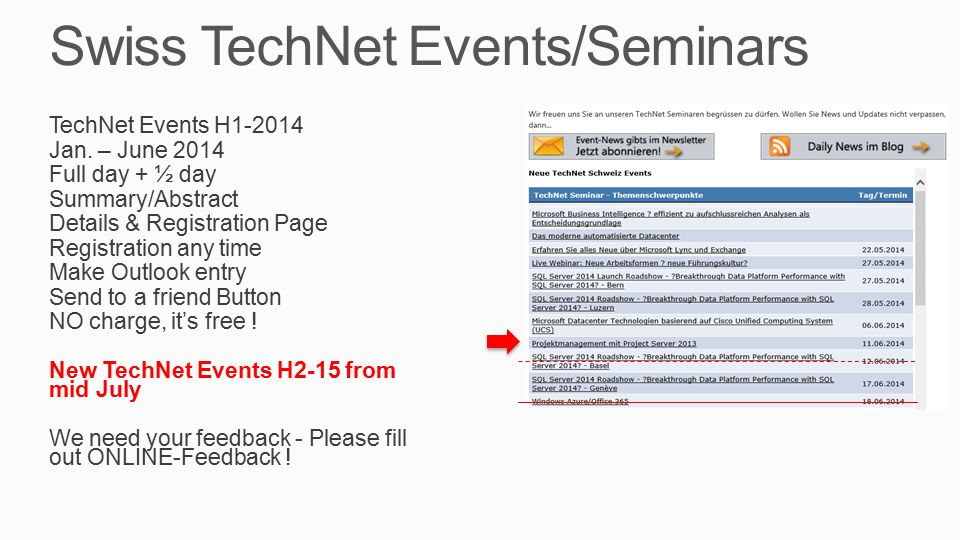 Swiss TechNet Events/Seminars TechNet Events H1-2014 Jan.