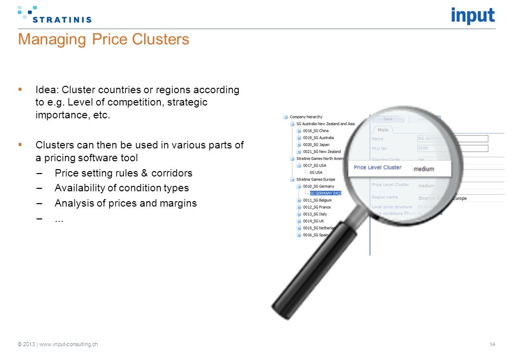 © 2013 | www.input-consulting.ch Managing Price Clusters  Idea: Cluster countries or regions according to e.g.