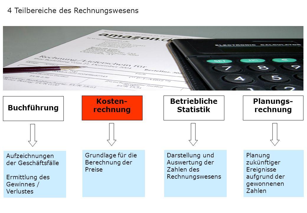 4 Teilbereiche des Rechnungswesens Buchführung Aufzeichnungen der Geschäftsfälle Ermittlung des Gewinnes / Verlustes Grundlage für die Berechnung der
