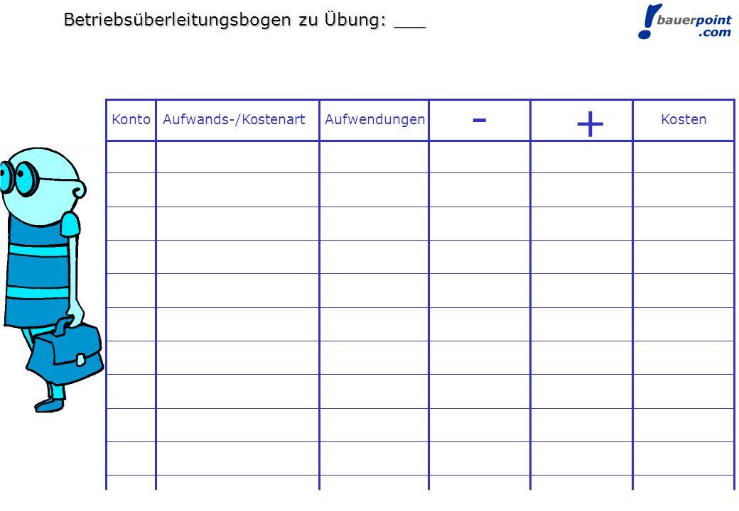 © bauerpoint.com Betriebsüberleitungsbogen zu Übung: ___ Konto Aufwands-/KostenartAufwendungen - + Kosten
