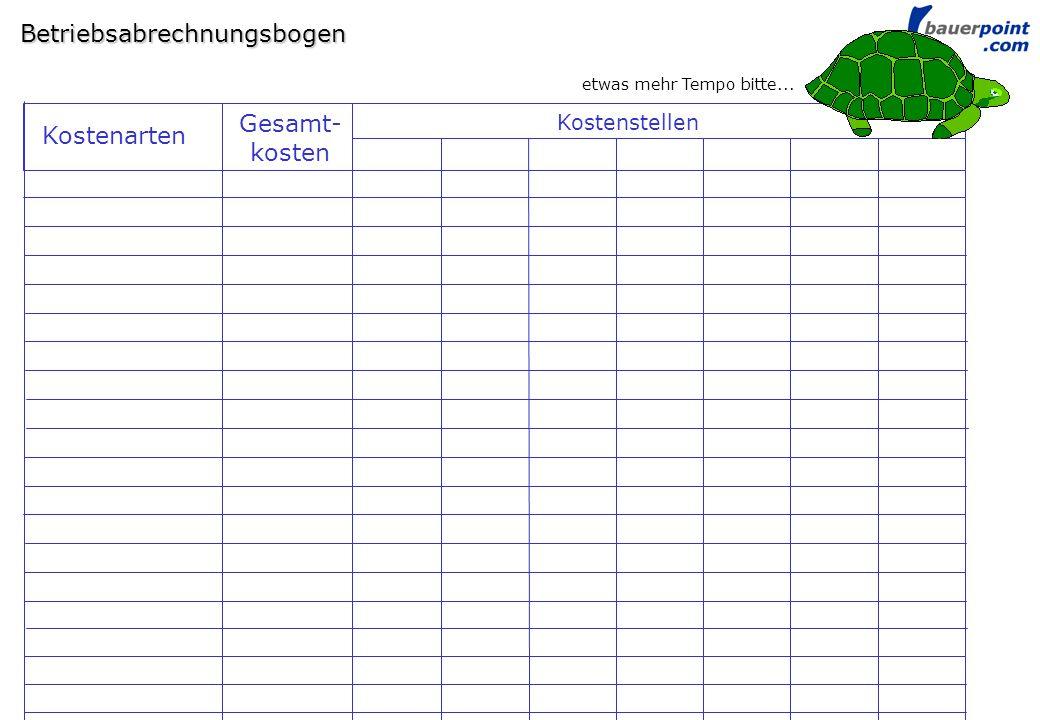 © bauerpoint.com Betriebsabrechnungsbogen Kostenstellen Gesamt- kosten Kostenarten etwas mehr Tempo bitte...