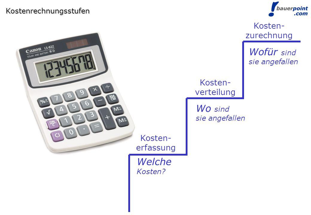 © bauerpoint.com Kostenrechnungsstufen Kosten- erfassung Kosten- verteilung Kosten- zurechnung Welche Kosten? Wo sind sie angefallen Wofür sind sie an