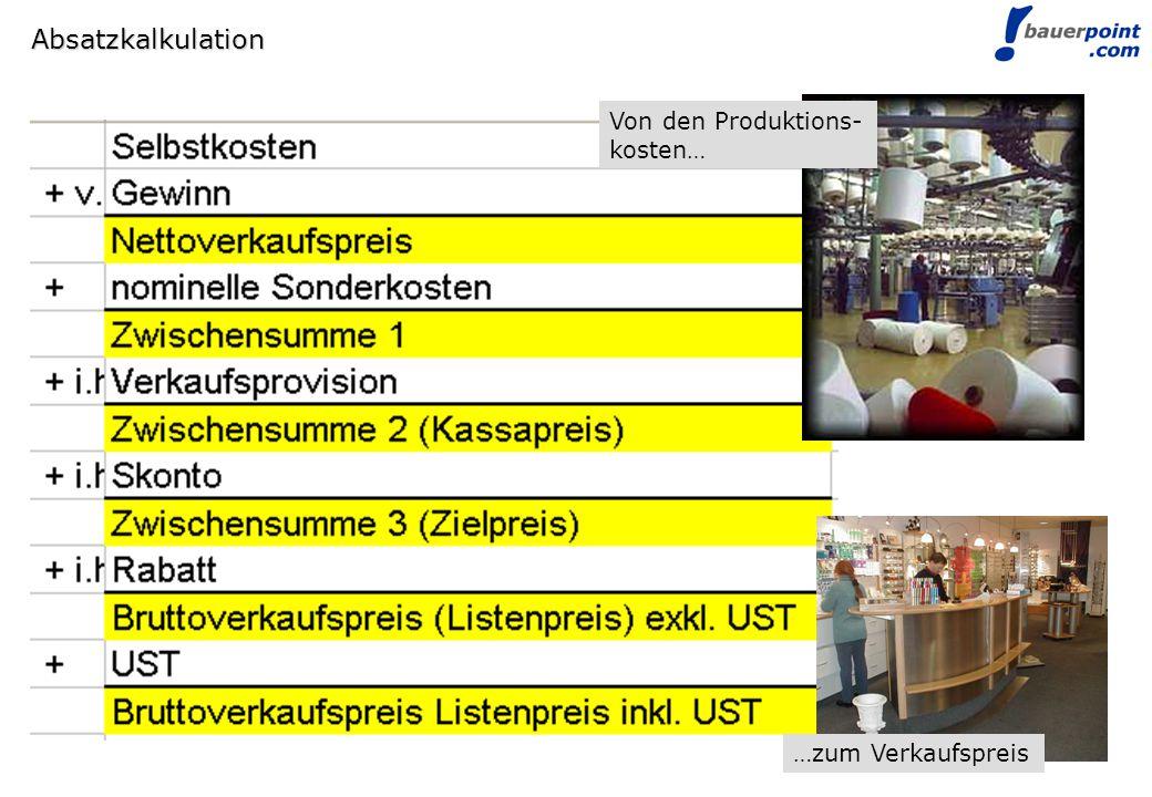 © bauerpoint.com Absatzkalkulation Von den Produktions- kosten… …zum Verkaufspreis
