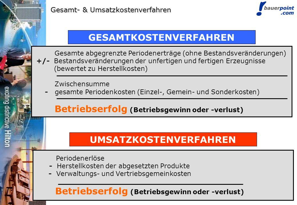 © bauerpoint.com Gesamt- & Umsatzkostenverfahren UMSATZKOSTENVERFAHREN Periodenerlöse - Herstellkosten der abgesetzten Produkte - Verwaltungs- und Ver