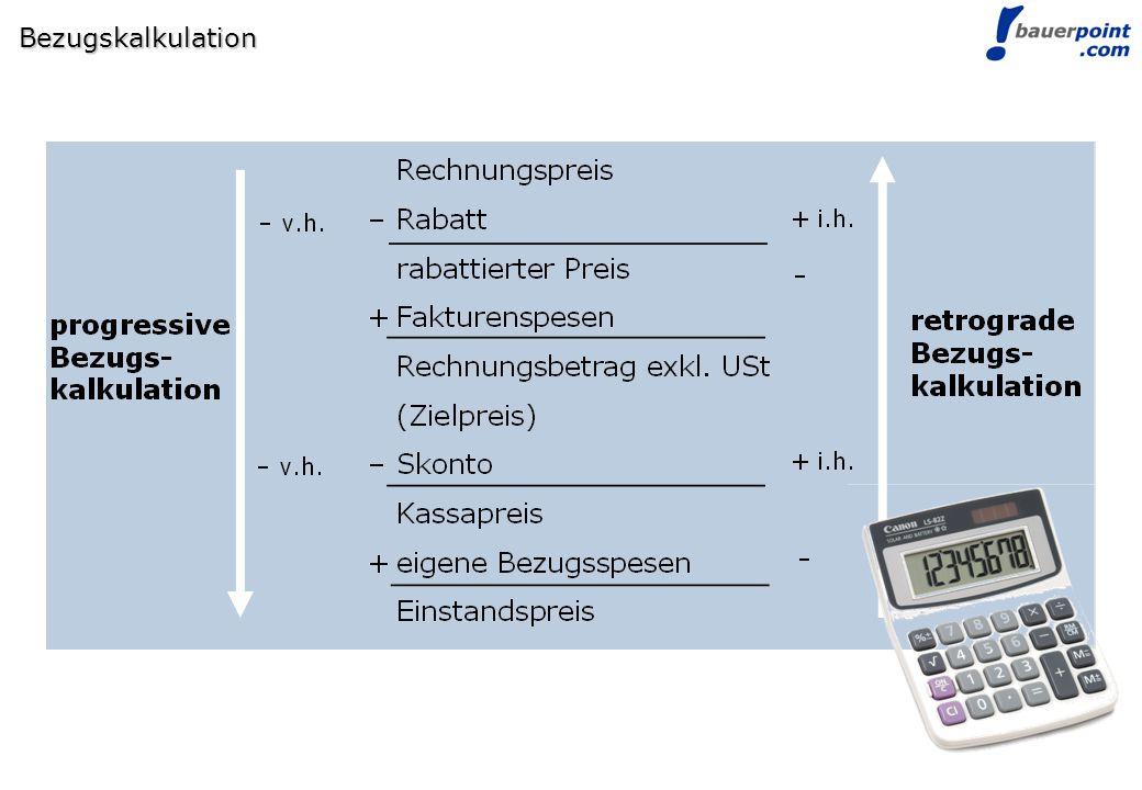 © bauerpoint.com Bezugskalkulation