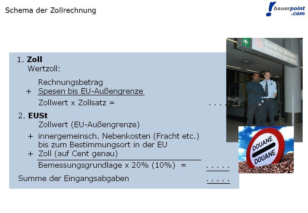 © bauerpoint.com Schema der Zollrechnung