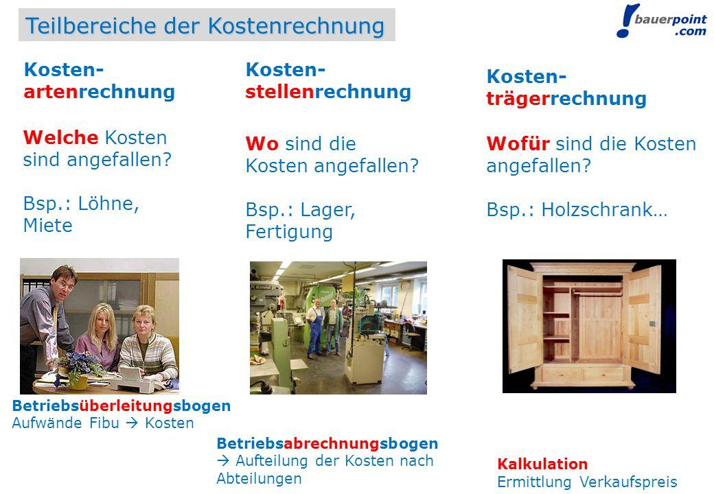 © bauerpoint.com Teilbereiche der Kostenrechnung Welche Kosten sind angefallen? Bsp.: Löhne, Miete Wo sind die Kosten angefallen? Bsp.: Lager, Fertigu