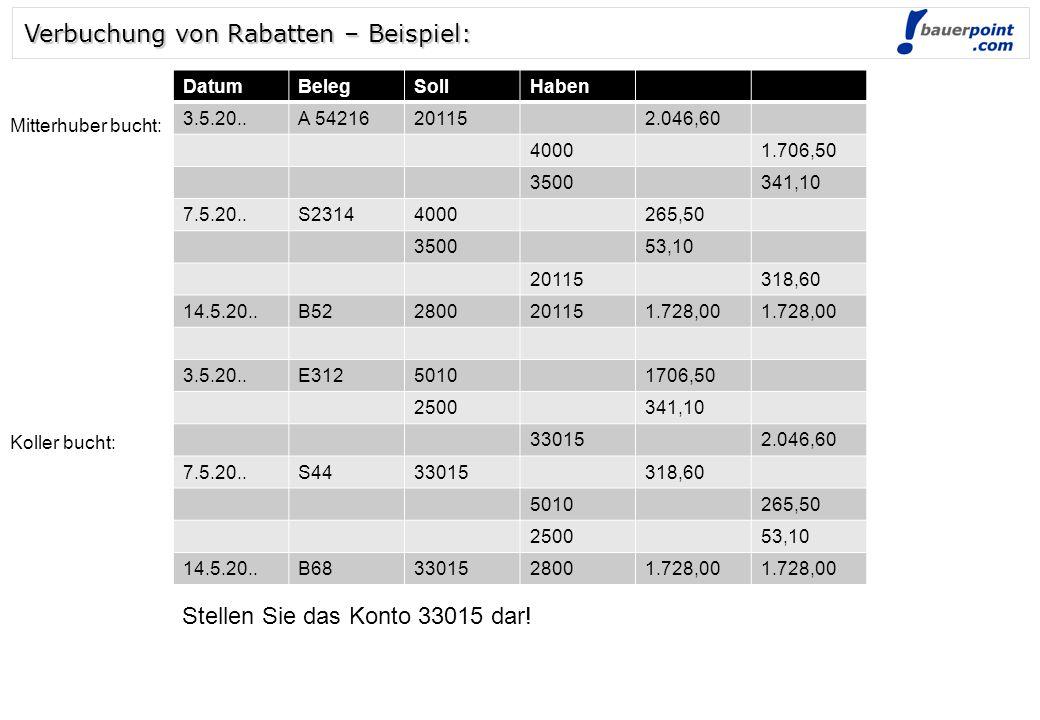 © bauerpoint.com Verbuchung von Rabatten – Beispiel: 3.5.20..E31250101706,50 2500341,10 330152.046,60 7.5.20..S4433015318,60 5010265,50 250053,10 14.5.20..B683301528001.728,00 Stellen Sie das Konto 33015 dar.