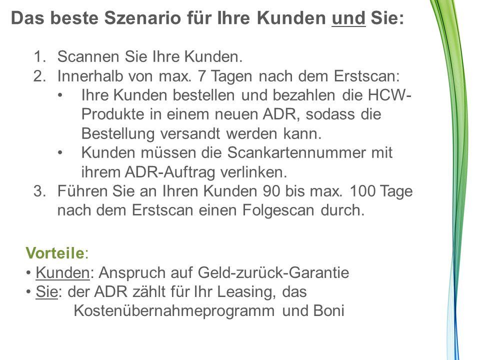 Kostenlose Folgescans Solange der Kunde seinen Scanner-ADR beibehält, bleibt seine/ihre Scankarte aktiv und kann einmal pro Kalendermonat verwendet werden.