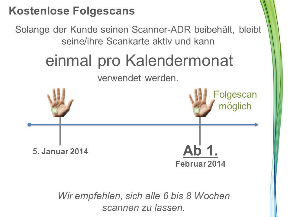 Kostenlose Folgescans Solange der Kunde seinen Scanner-ADR beibehält, bleibt seine/ihre Scankarte aktiv und kann einmal pro Kalendermonat verwendet we