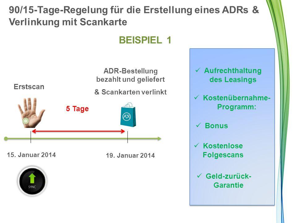 90/15-Tage-Regelung für die Erstellung eines ADRs & Verlinkung mit Scankarte BEISPIEL 1 Erstscan 5 Tage ADR-Bestellung bezahlt und geliefert & Scankar