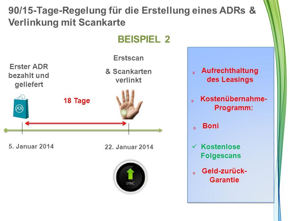 90/15-Tage-Regelung für die Erstellung eines ADRs & Verlinkung mit Scankarte BEISPIEL 2 18 Tage Erster ADR bezahlt und geliefert 5. Januar 2014 22. Ja