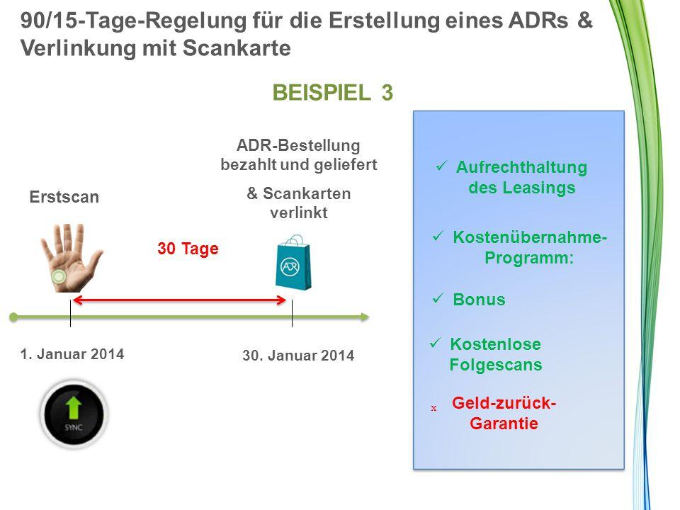 90/15-Tage-Regelung für die Erstellung eines ADRs & Verlinkung mit Scankarte BEISPIEL 3 Erstscan 30 Tage ADR-Bestellung bezahlt und geliefert & Scanka