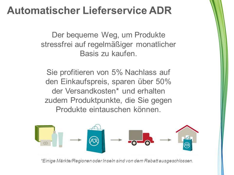 Automatischer Lieferservice ADR Der bequeme Weg, um Produkte stressfrei auf regelmäßiger monatlicher Basis zu kaufen. Sie profitieren von 5% Nachlass
