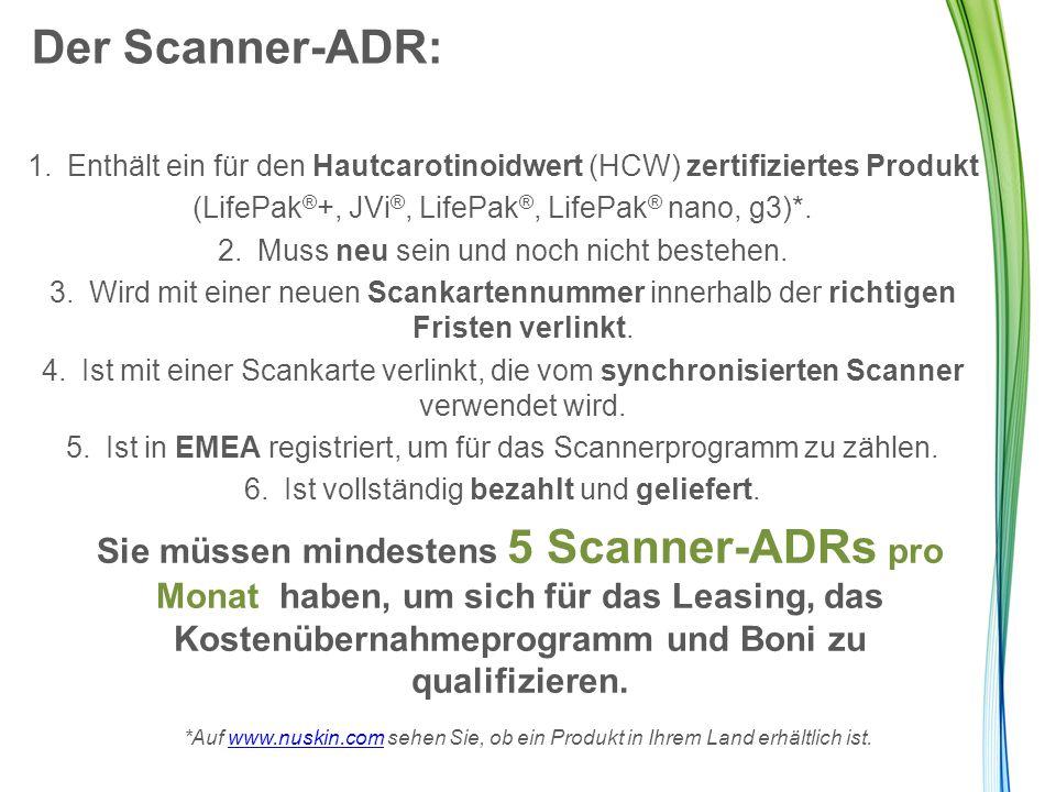 Der Scanner-ADR: 1.Enthält ein für den Hautcarotinoidwert (HCW) zertifiziertes Produkt (LifePak ® +, JVi ®, LifePak ®, LifePak ® nano, g3)*. 2.Muss ne