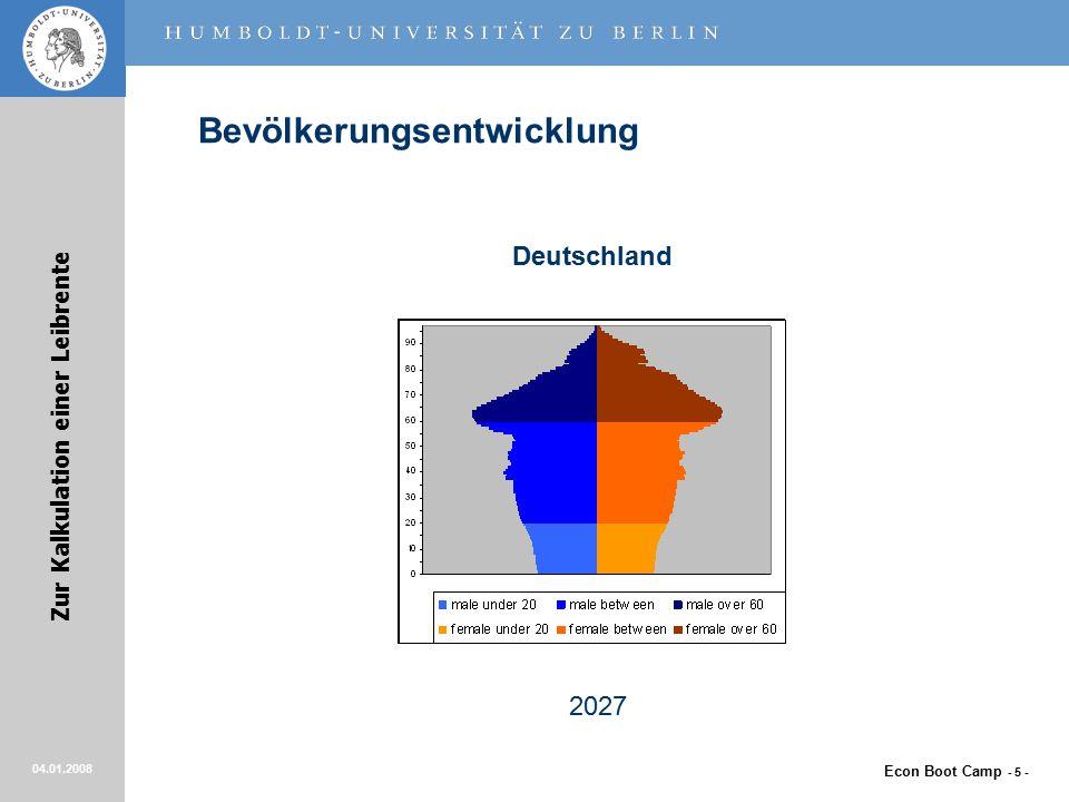 Econ Boot Camp - 5 - Zur Kalkulation einer Leibrente 04.01.2008 Bevölkerungsentwicklung Deutschland 2027