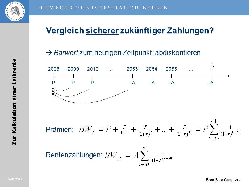 Econ Boot Camp - 9 - Zur Kalkulation einer Leibrente 04.01.2008 Vergleich sicherer zukünftiger Zahlungen.