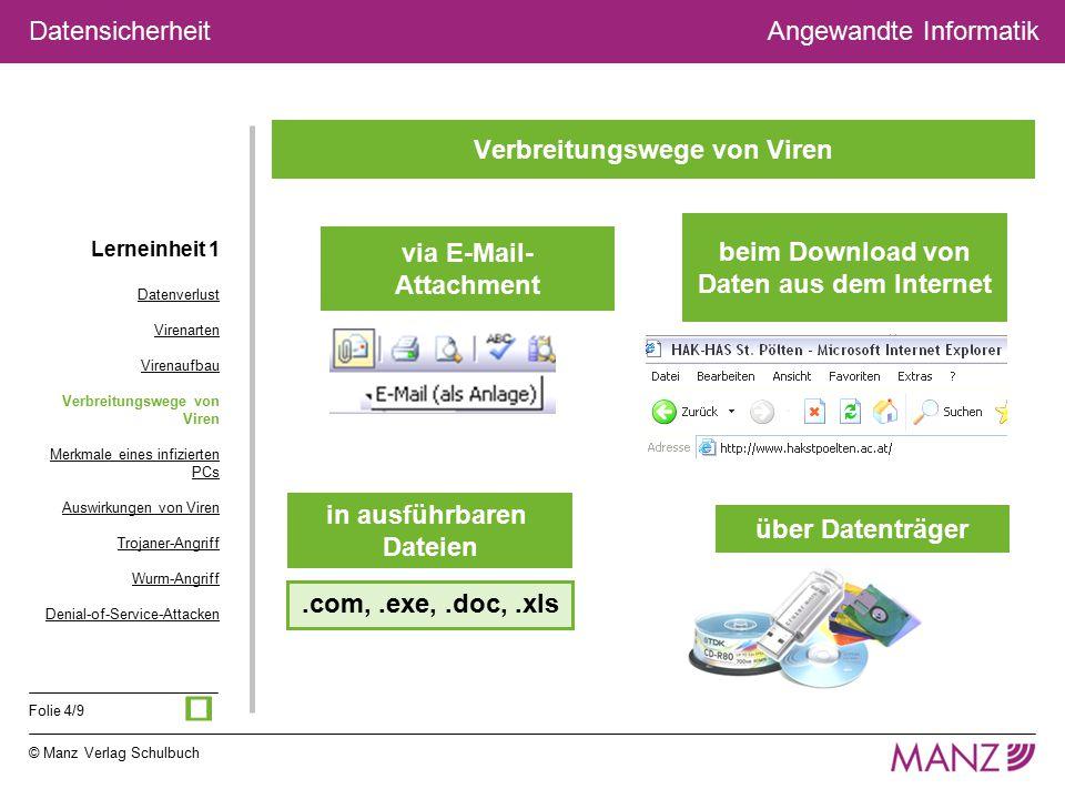 © Manz Verlag Schulbuch Angewandte Informatik Folie 4/9 Datensicherheit Verbreitungswege von Viren über Datenträger via E-Mail- Attachment beim Downlo