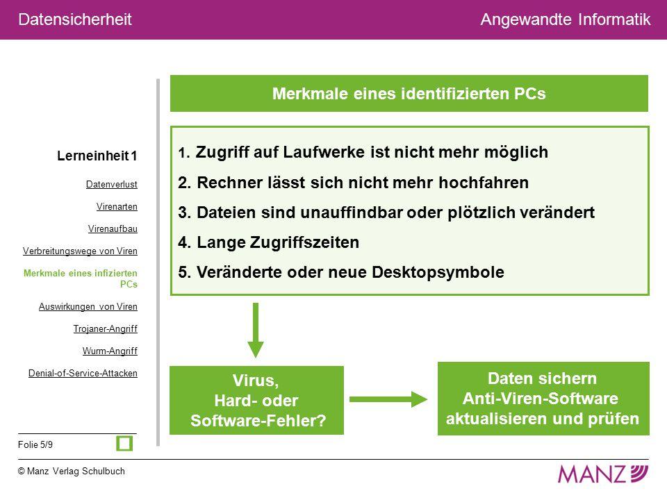 © Manz Verlag Schulbuch Angewandte Informatik Folie 5/9 Datensicherheit Merkmale eines identifizierten PCs 1. Zugriff auf Laufwerke ist nicht mehr mög
