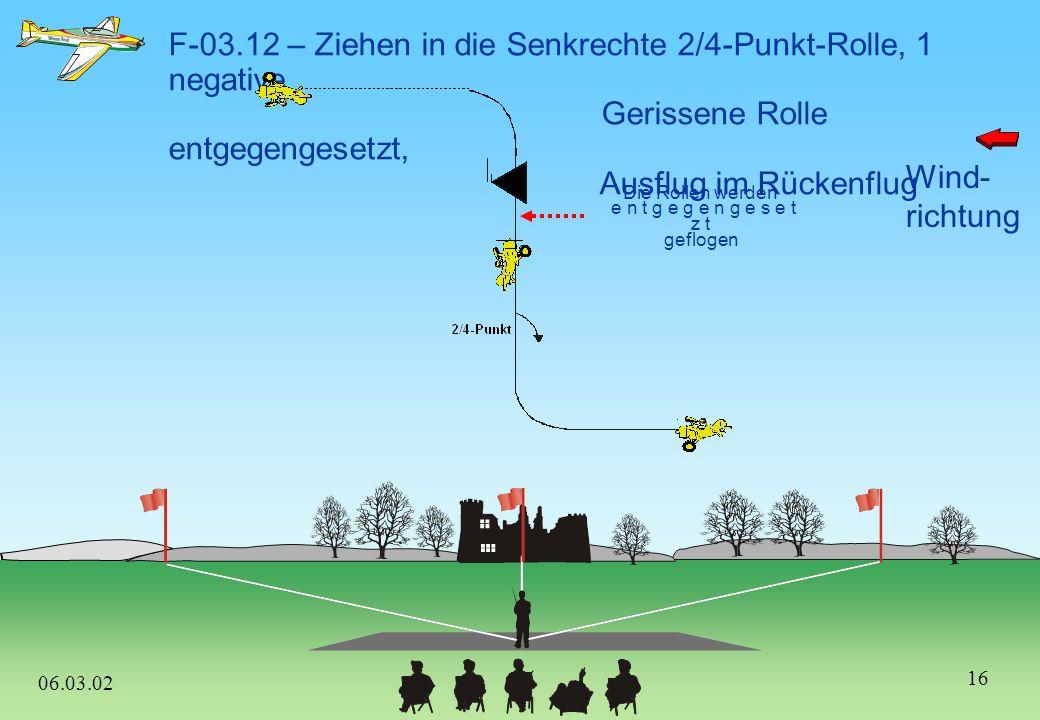 Wind- richtung 06.03.02 2/4 Punkt F-03.11 – Eine pos. Gerissene Rolle, 3/8 Außenlooping in den 45°-Bahnneigungsflug, 2/4–Punkt-Rolle abwärts 15
