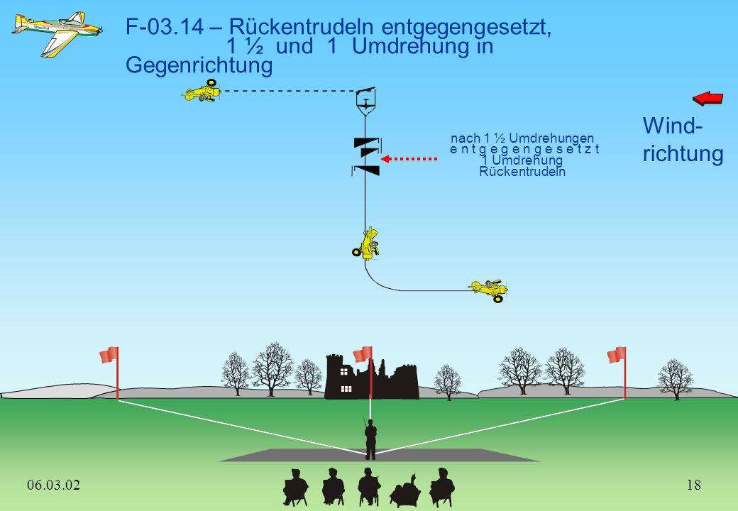 Wind- richtung F-03.13 – Ziehen-Drücken-Ziehen Humpty Bump, 1/2 Rolle abwärts oder optional: 3/4 Rolle auf- und abwärts 3/4 Rolle nur dann, wenn abwär