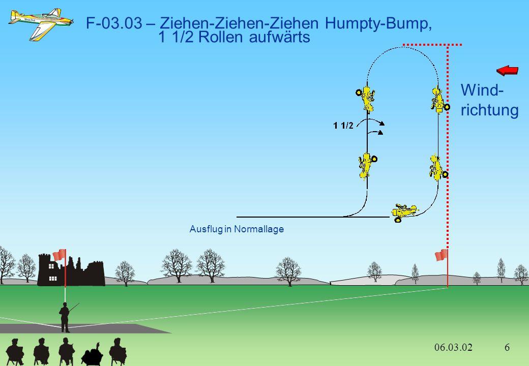 Wind- richtung F-03.12 – Ziehen in die Senkrechte 2/4-Punkt-Rolle, 1 negative Gerissene Rolle entgegengesetzt, Ausflug im Rückenflug Die Rollen werden e n t g e g e n g e s e t z t geflogen 06.03.02 16